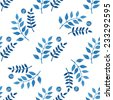 Seamless floral pattern, amazing blue plant, twigs and blue circles on a white background. - stock photo