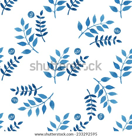Seamless floral pattern, amazing blue plant, twigs and blue circles on a white background. - stock vector