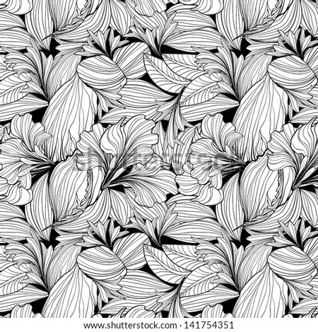 Seamless floral pattern background, EPS10 Vector background - stock vector