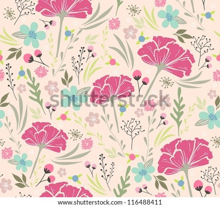 Seamless floral pattern. Background with flowers and leafs. flower, flower, flower, flower, flower, flower, flower, flower, flower, flower, flower, flower, flower, flower, flower, flower, flower - stock vector