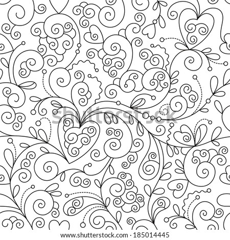 seamless floral pattern, black and white drawing