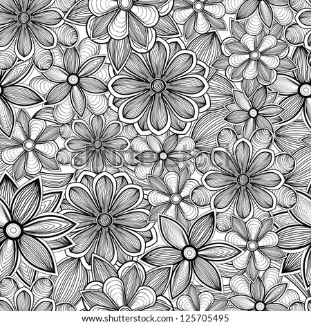 Seamless floral pattern. Black and white hand drawn vector illustration - stock vector