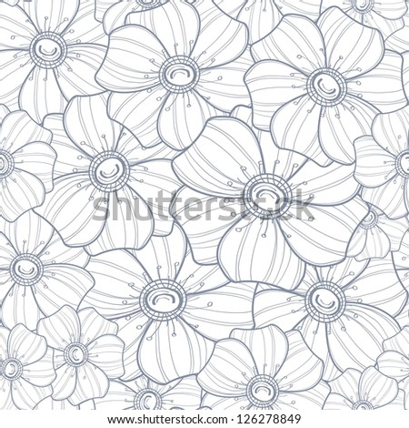 Seamless floral pattern. Black and white vector illustration - stock vector