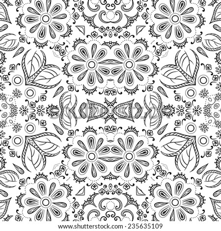 Seamless floral pattern, black symbolical contours isolated on white background. Vector - stock vector