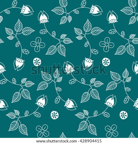 Seamless floral pattern. Can be used for wallpaper, pattern fills, textile, web page background, surface textures. Vector illustration.