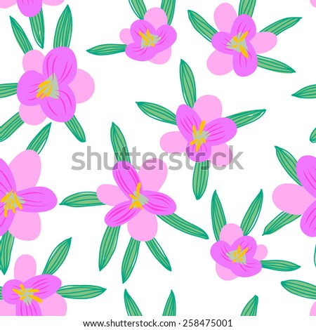 Seamless floral pattern crocus. Vector backdrop. Bright pattern. Summer template. Use for wallpaper, web page background  - stock vector