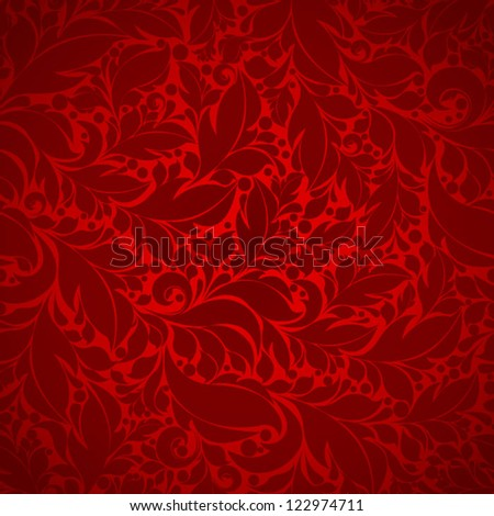 Seamless floral pattern Floral background red - stock vector