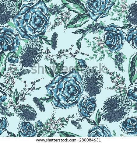 Seamless floral pattern. Flowers texture. blue  light  - stock vector