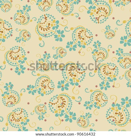 Seamless floral pattern. Flowers texture, paisley pattern Fashionable modern wallpaper or textile  Vintage - stock vector