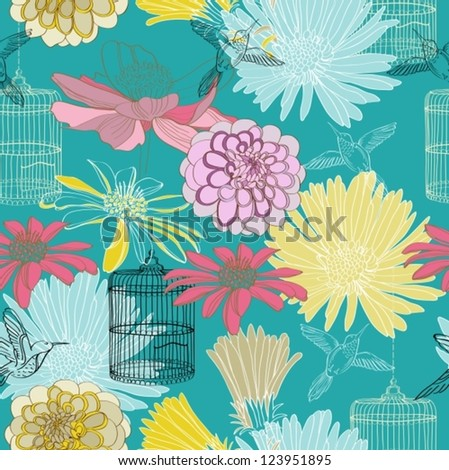 seamless floral pattern for design, vector - stock vector