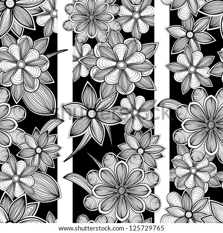 Seamless floral pattern. Hand drawn vector illustration - stock vector