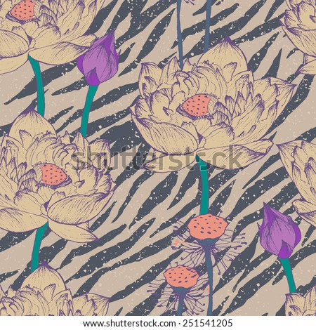 Seamless floral pattern hipster pattern.Vector retro pattern.Old background texture. Vintage pattern