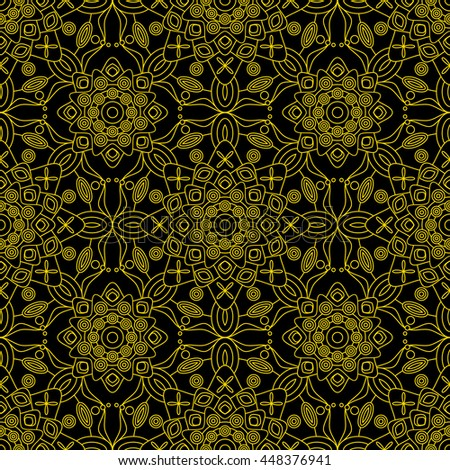 Seamless Floral Pattern In Golden Yellow On Black Background Decorative Print With Elements Of Vintage