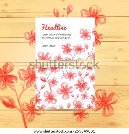 Seamless floral pattern in the mask. Set of card and invitations on wood texture. Wedding cards, invitations, banners. Marriage event. Vector watercolor background. - stock vector