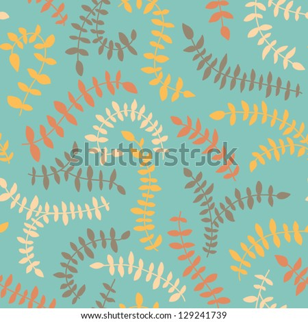 Seamless floral pattern in vintage color. Abstract leafs background. Vector illustration - stock vector