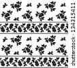 Seamless floral pattern: leaves, plants and lines, black silhouettes on white background. Vector - stock photo