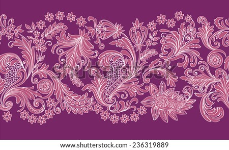 Seamless floral pattern of openwork silhouettes and fine lines on purple - stock vector