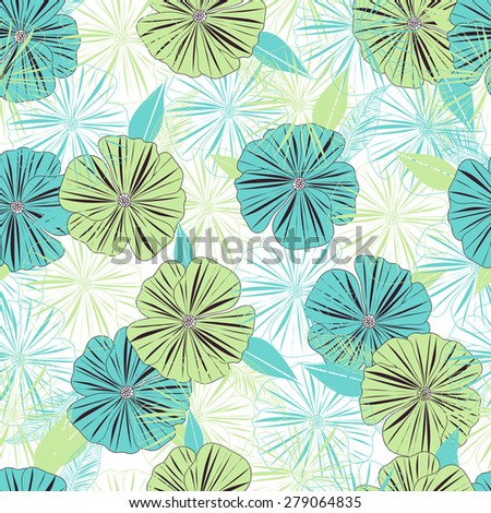 Seamless floral pattern of the bright flowers. - stock vector