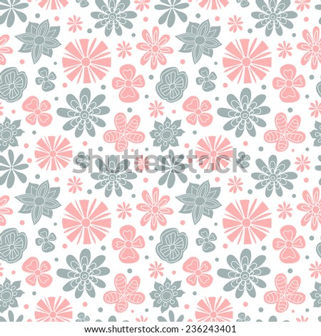 Seamless floral pattern of the colors pink and blue on a white background.