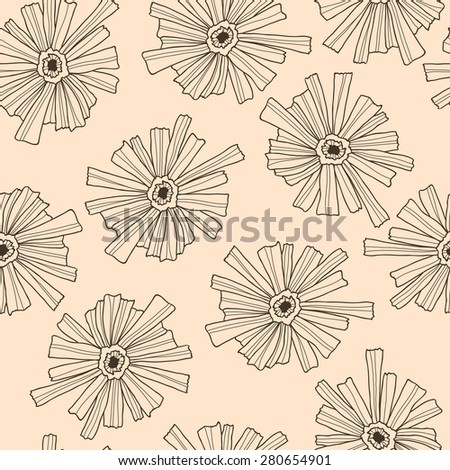 Seamless floral pattern of the contoured flowers. - stock vector