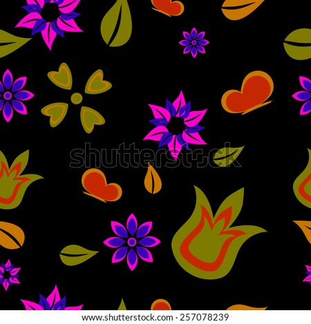 Seamless floral pattern on a black background  - stock vector