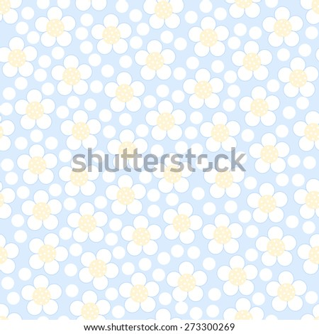 Seamless floral pattern on a blue background. Vector illustration. - stock vector