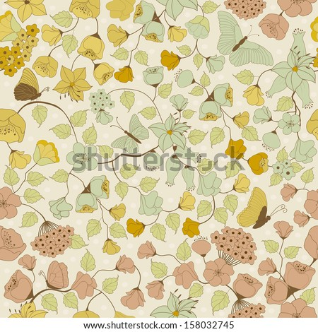 Seamless floral pattern on beige background  - stock vector