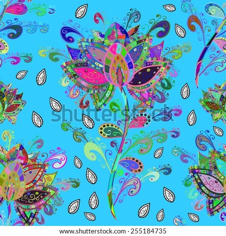 Seamless floral pattern on blue background. Vector illustration. - stock vector