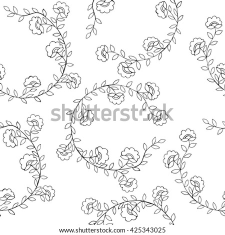 Seamless floral pattern on the white background. Vector illustration seamless for banner, card, invitation, textile, fabric, wrapping paper.