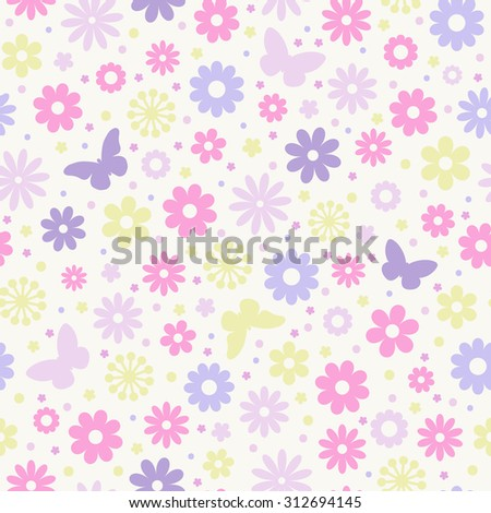 Seamless floral pattern. Pastel flowers and butterflies. - stock vector
