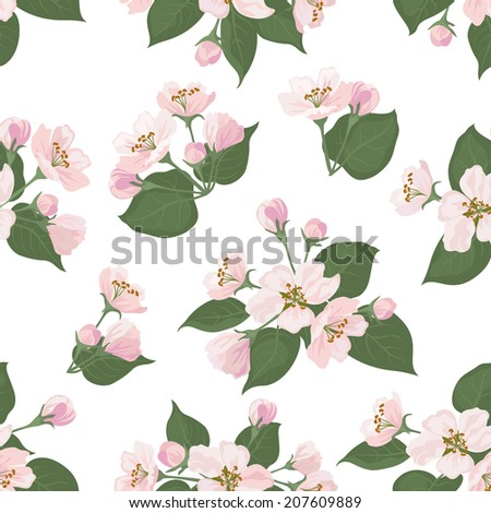 Seamless floral pattern, pink apple tree flowers and green leaves isolated on white background. Vector - stock vector