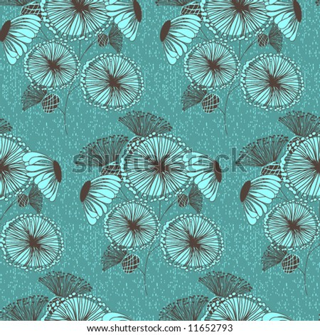 Seamless floral pattern - retro style - stock vector