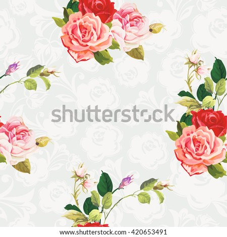 Seamless floral pattern rose Vector Illustration EPS8 - stock vector