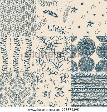 Seamless floral pattern set, vector illustration.  - stock vector
