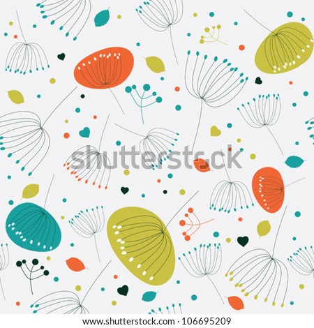 Seamless floral pattern, texture with flowers - stock vector