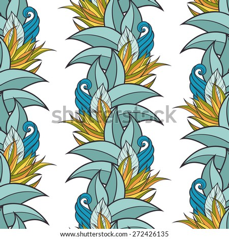 Seamless Floral Pattern (Vector). Hand Drawn Floral Texture, Decorative Flowers, Coloring Book - stock vector