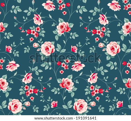 Seamless floral pattern. Vintage background with pink roses. Floral wallpaper - stock vector