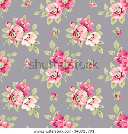 Seamless floral pattern. Vintage seamless wallpaper with blooming pink flowers. Pink peony on grey background - stock vector