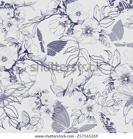 Seamless floral pattern with a blossoming branch of wild rose,  with butterflies. Vector  Illustration - stock vector