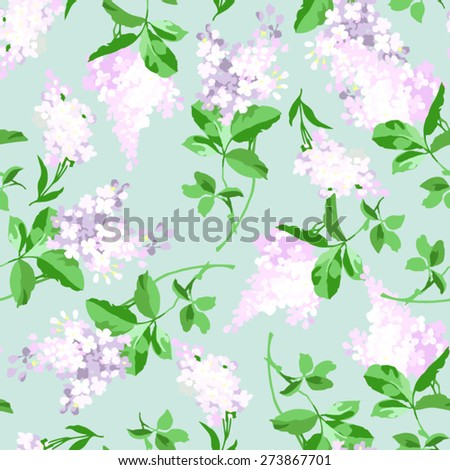 Seamless floral pattern with a branch of lilac - stock vector