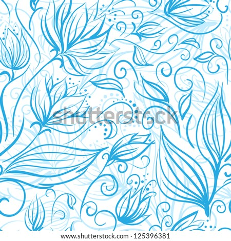 Seamless floral pattern with a cute blue flowers