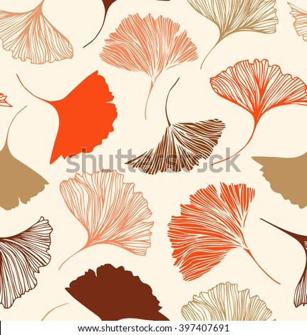 Seamless floral pattern with beauty ginkgo leaves. Vector elegant background - stock vector