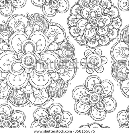 Seamless floral pattern with big decorative flowers  in white and black colors