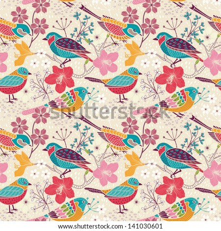 Seamless floral pattern with birds - stock vector
