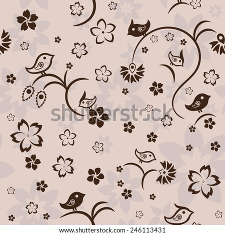 Seamless floral pattern with birds on beige background, vector