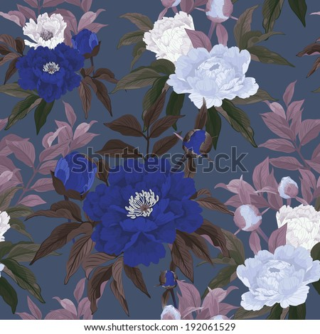 Seamless floral pattern with blue and white roses on dark background. Vector illustration. - stock vector