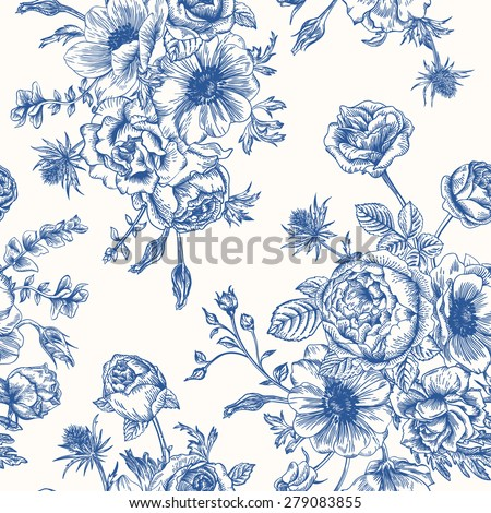 Seamless floral pattern with bouquet of blue flowers on a white background. Roses, anemones, eustoma.  - stock vector