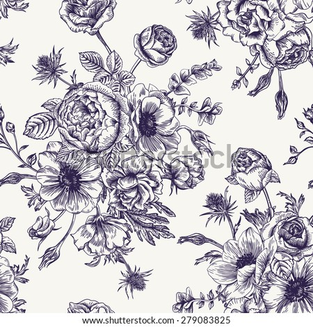 Seamless floral pattern with bouquet of flowers on a white background. Roses, anemones, eustoma. Black and white. - stock vector