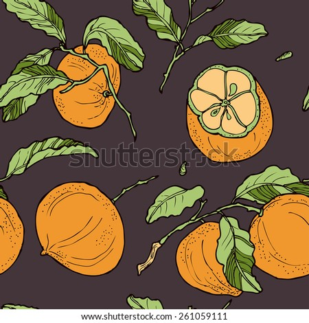 Seamless floral pattern with bright mandarins, in vector - stock vector