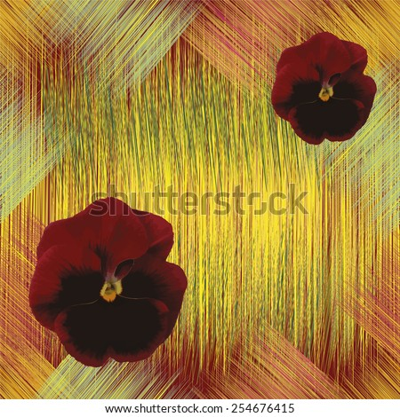 Seamless floral pattern with brown viola on grunge striped colorful background - stock vector